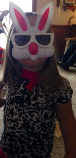 Emma with bunny glasses on
