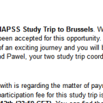 Study trip acceptance email