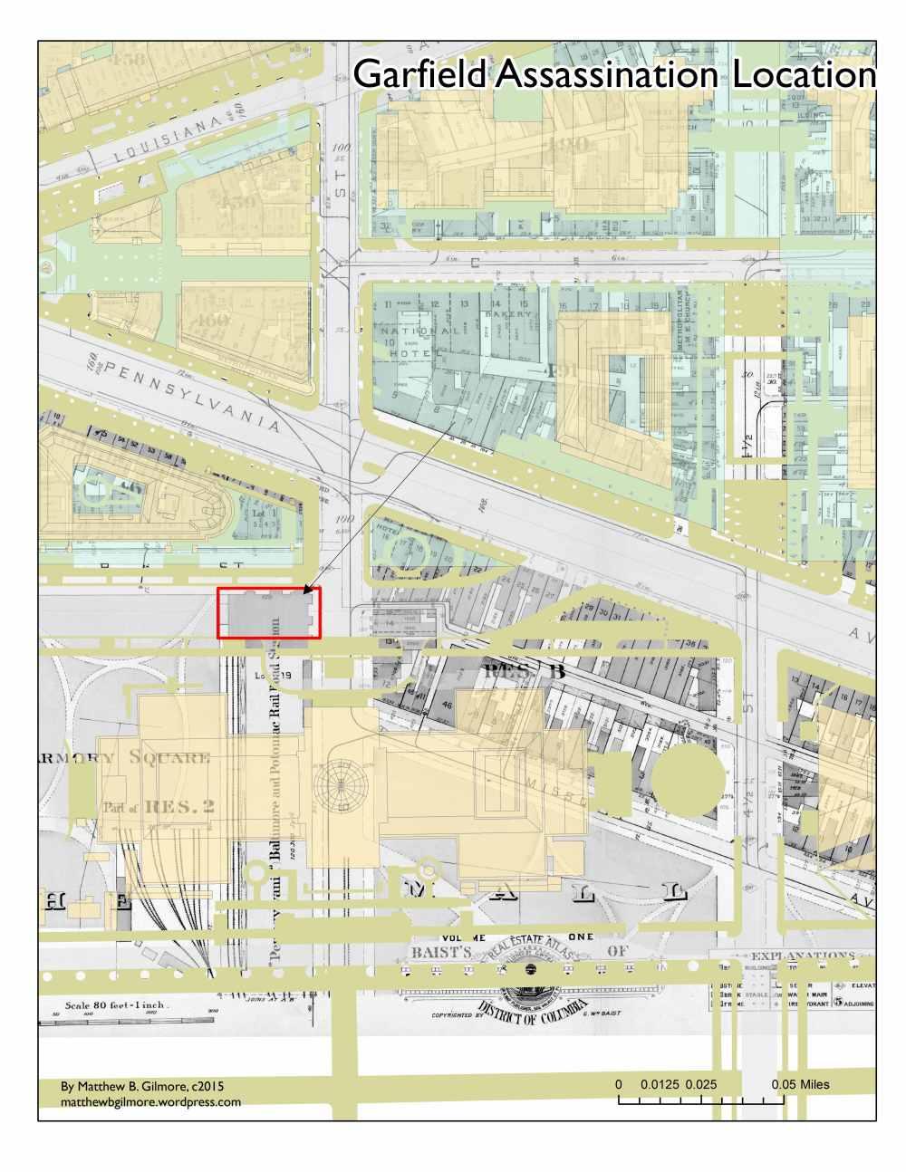 medium resolution of map indicating location of shooting of president garfield