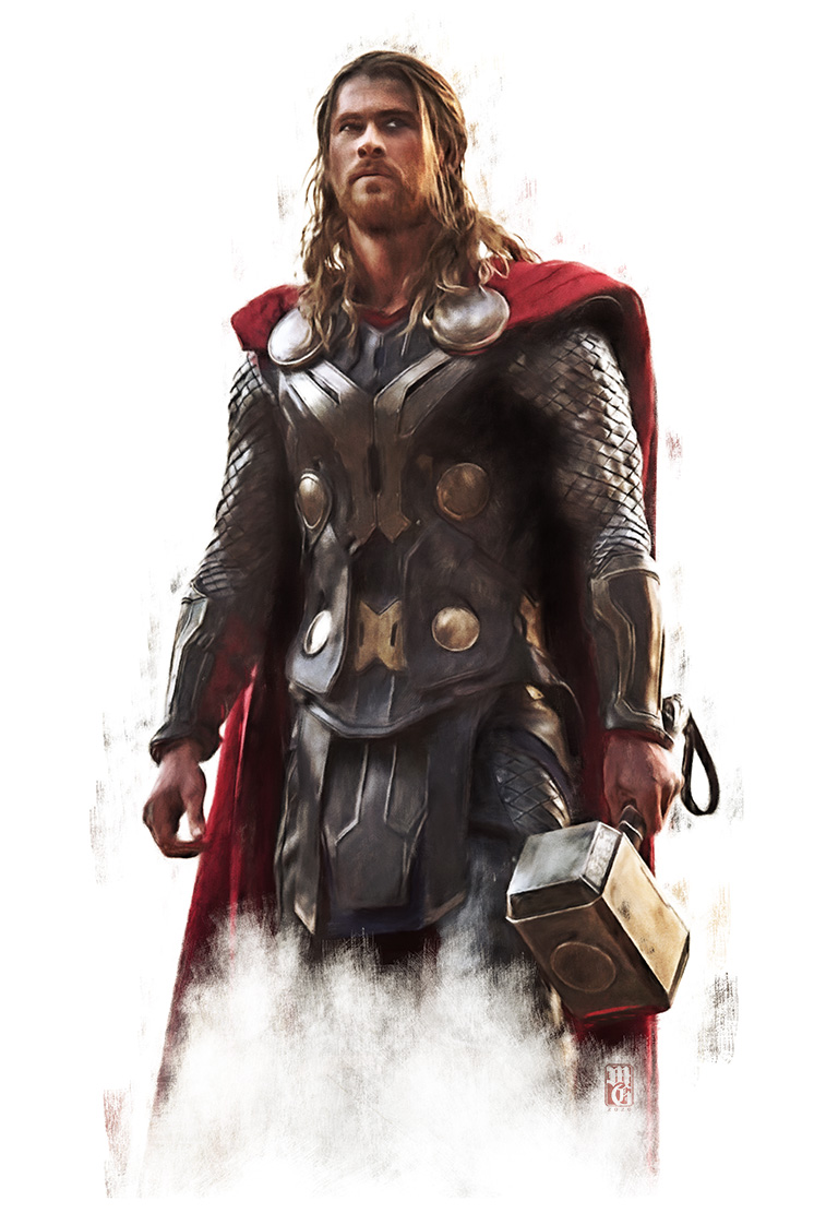 Sketch portrait of Chris Hemsworth as Thor