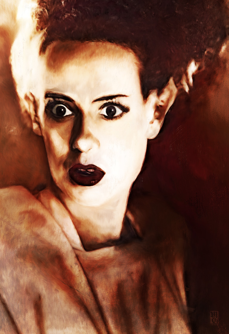 Portrait of Elsa Lanchester as the Bride of Frankenstein