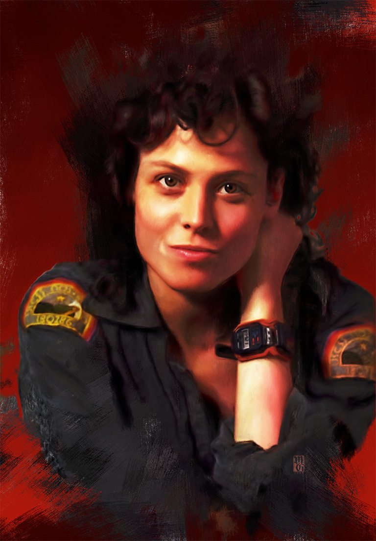 Portrait of Sigourney Weaver as Ellen Ripley from Alien