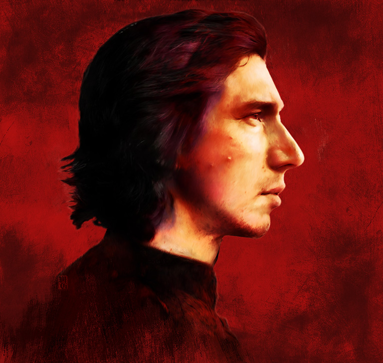 Portrait of Adam Drive as Ben Solo (Kylo Ten) from the Star Wars Universe