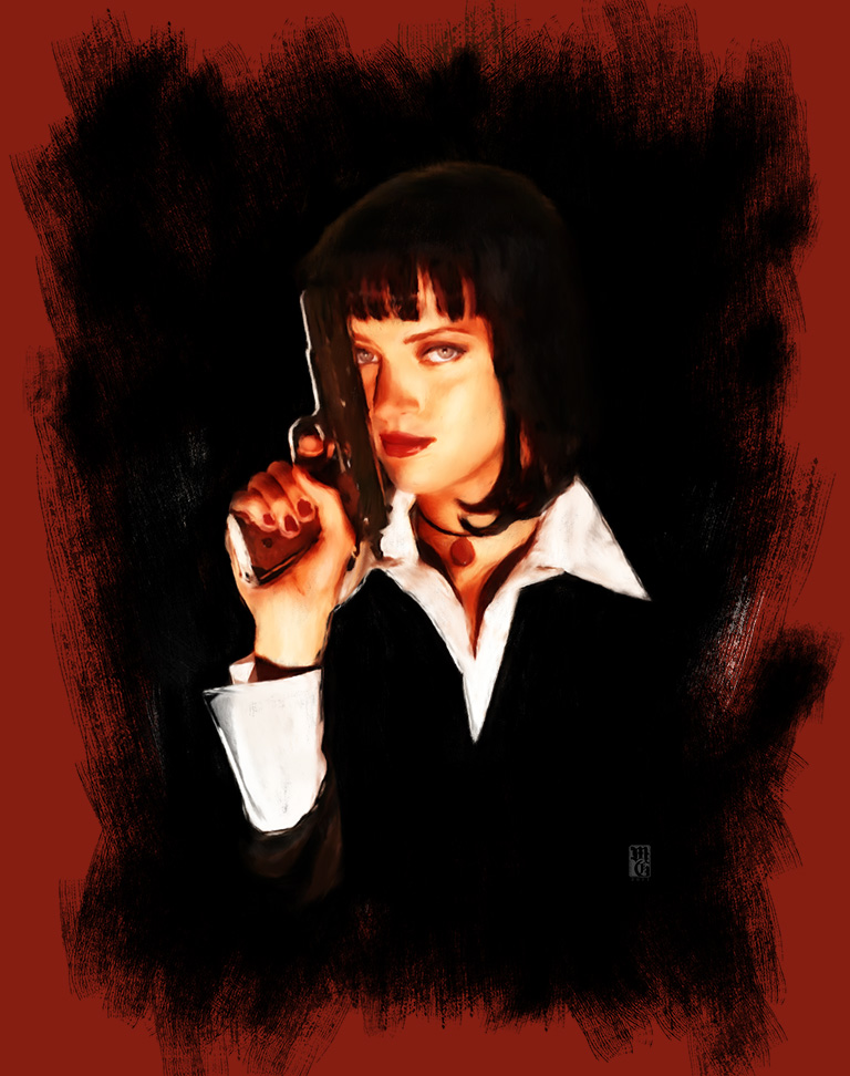 Portrait of Uma Thurman as Mia Wallace from Pulp Fiction