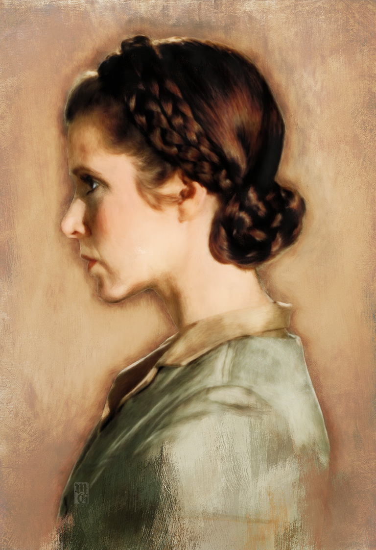 Portrait of Carrie Fisher as Princess Leia Organa