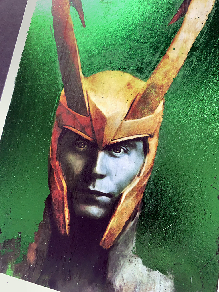Print of Tom Hiddleston as Loki with metal leaf