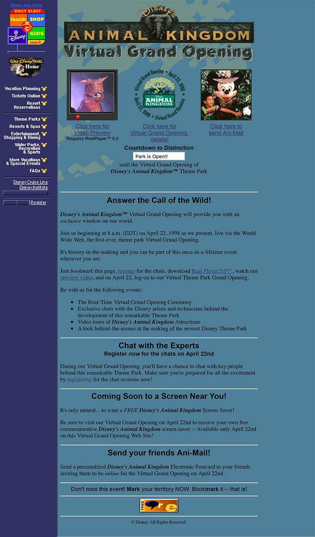 Disney's Animal Kingdom Virtual Grand Opening teaser page