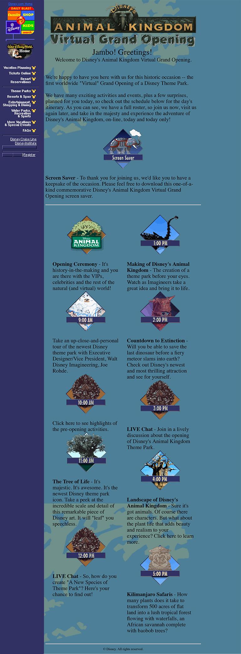Disney's Animal Kingdom Virtual Grand Opening landing page