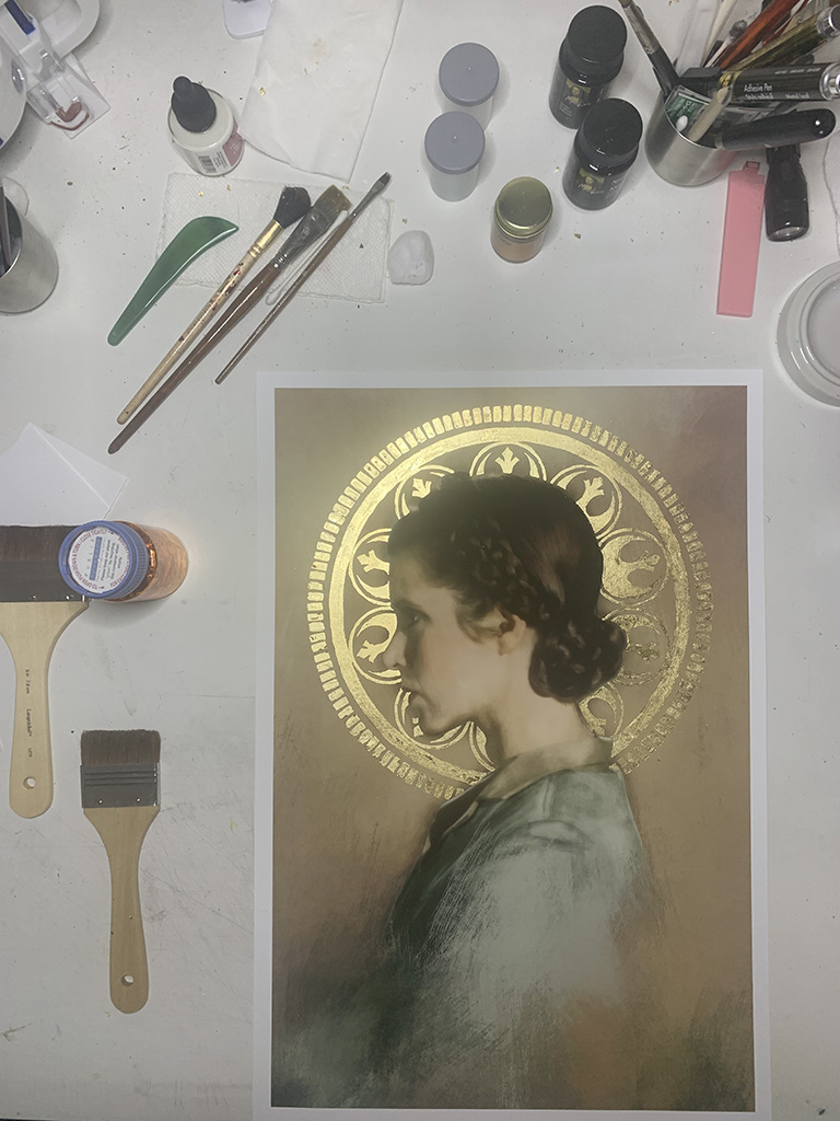 View of work in progress of portrait of Princess Leia