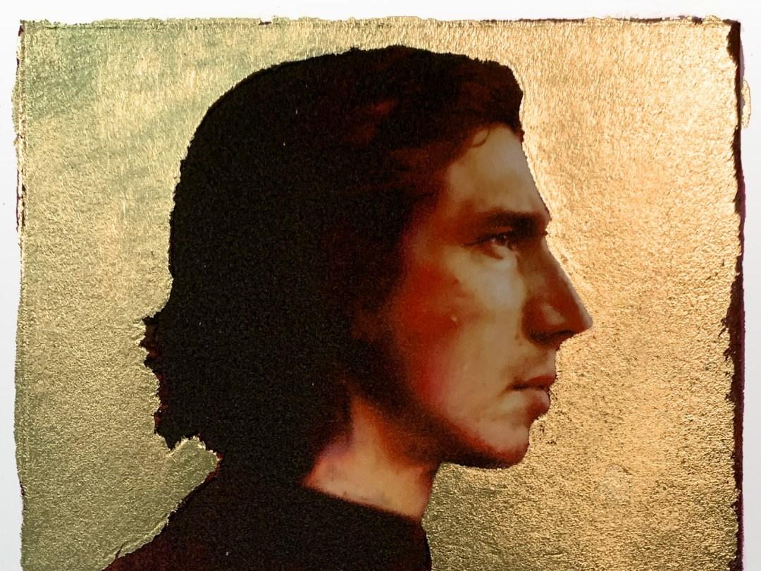 Detail of gold-leaf portrait of Kylo Ren