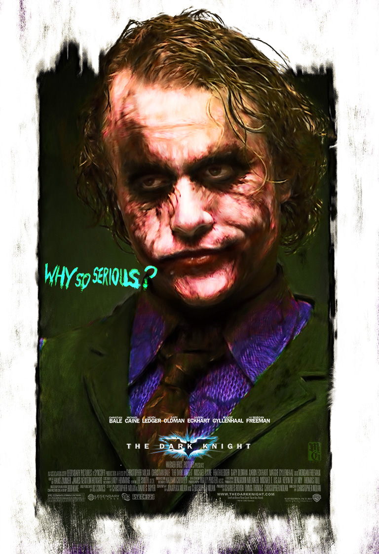 "Alternative movie poster for ""The Dark Knight"" featuring Heath Ledger as the Joker"