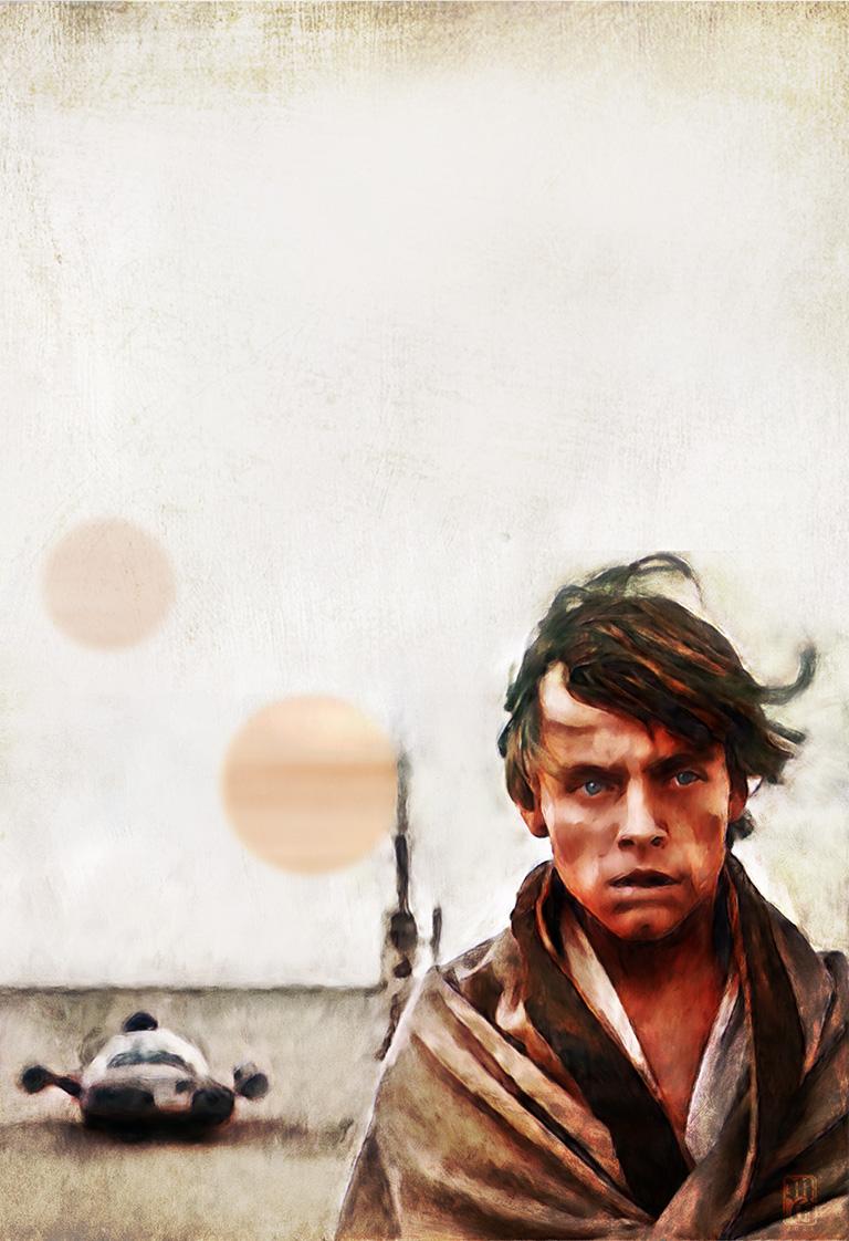 Portrait of Luke Skywalker on Tatooine