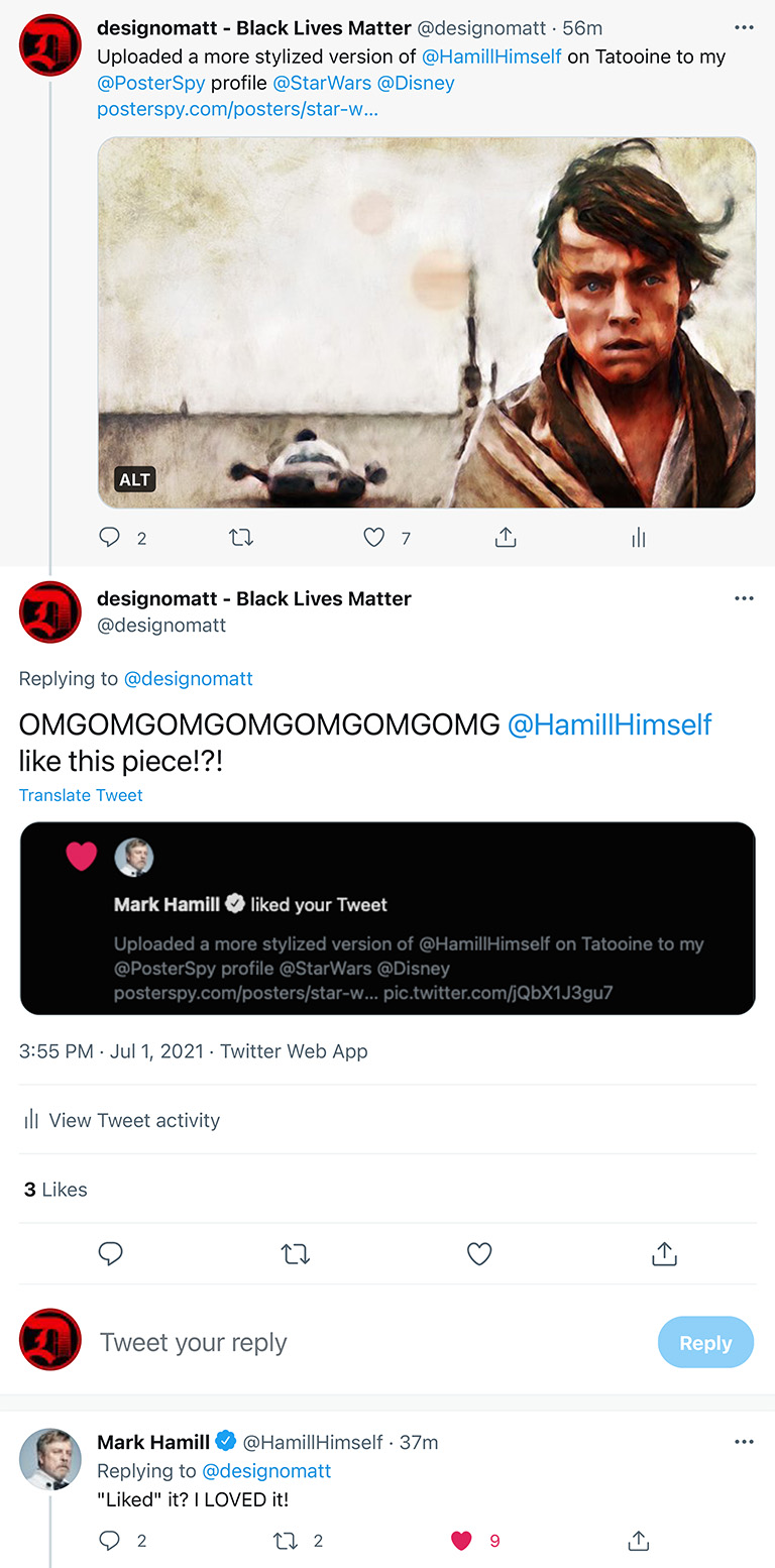 Twitter exchange with Mark Hamill