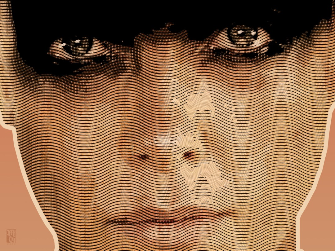 Detail of portrait of Charlize Theron as Furiosa