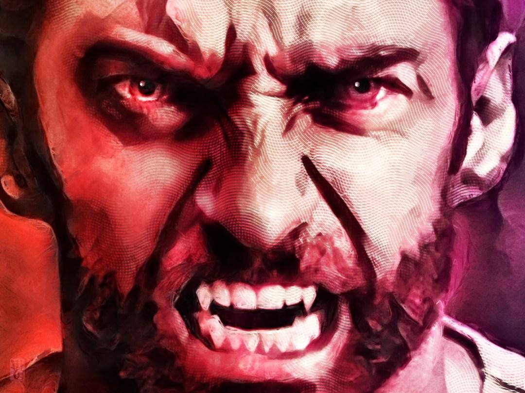 Detail of portrait of Hugh Jackman as Wolverine