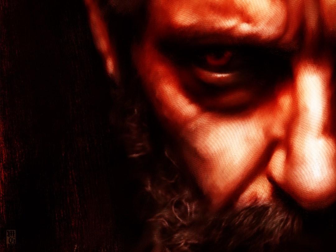 Detail of portrait of Hugh Jackman as Old Man Logan