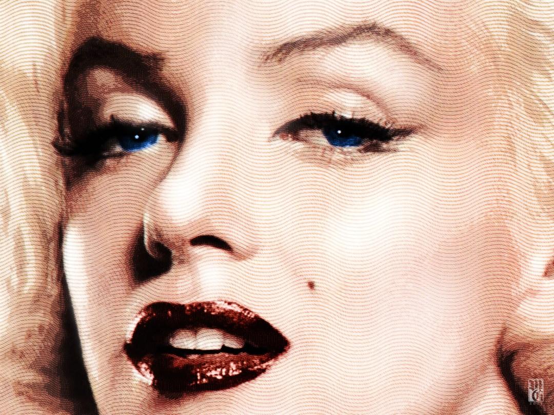 Detail of portrait of Marilyn Monroe (nee Norma Jean Baker)