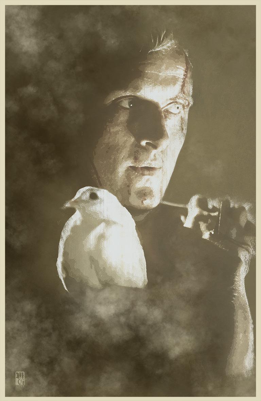 "Illustration of Rutger Hauer as Roy Batty from ""Blade Runner"""