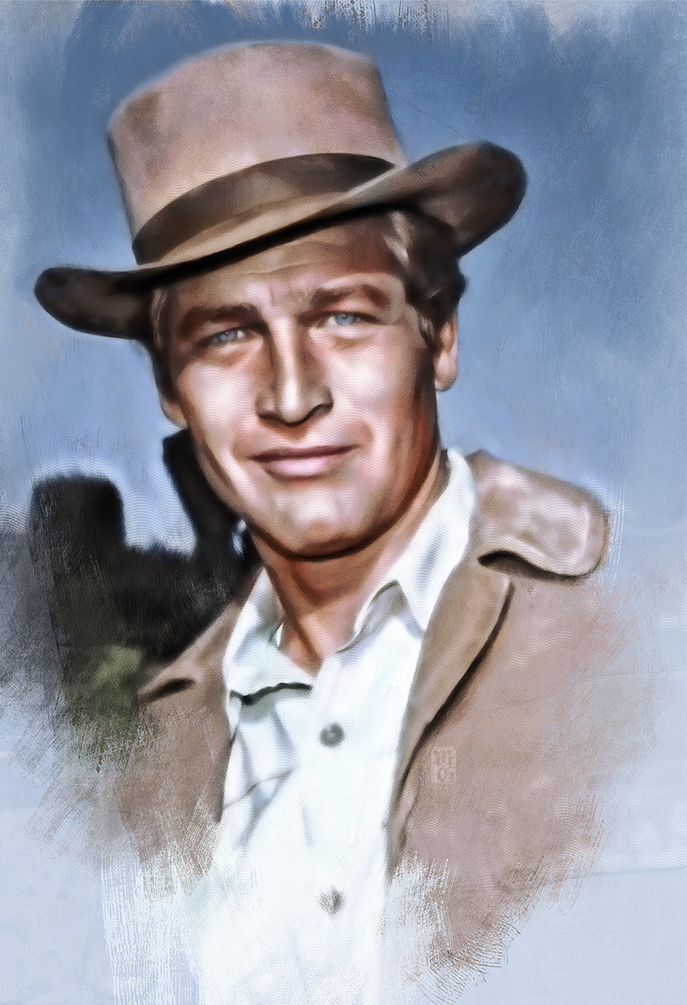 """Portrait of the legendary actor, racer, and philanthropist Paul Newman in his role as Butch Cassidy in """"Butch Cassidy and the Sundance Kid""""."""
