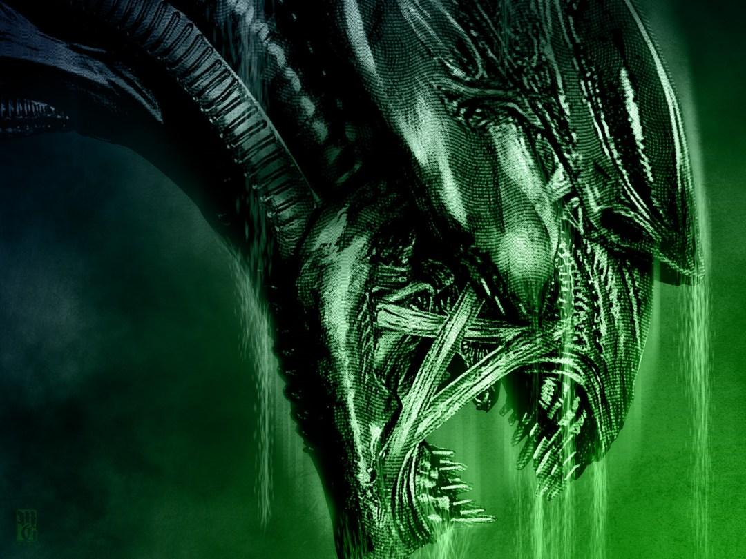 Detail of illustration of the Alien queen