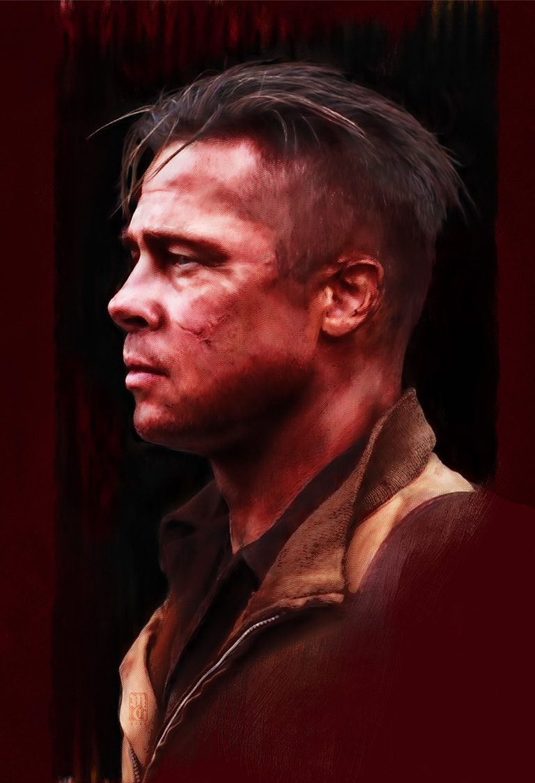 "Portrait of Brad Pitt as Wardaddy from ""Fury"""
