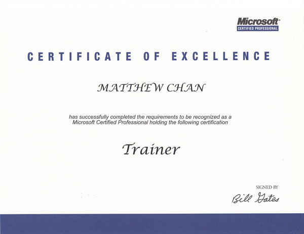 Microsoft Certified Trainer (1996)