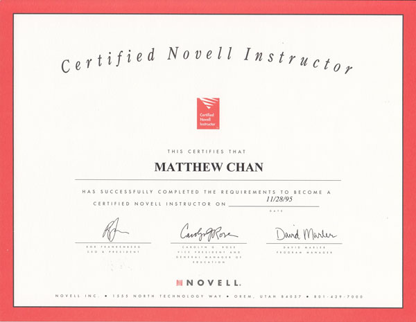 Certified Novell Instructor