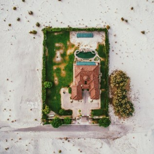 A housing development built in complete desert in western United States.