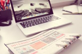 keyboard and newspaper