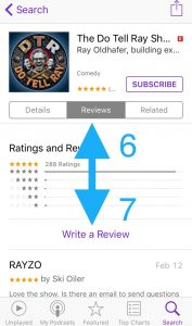 Select Reviews and then tap Write a Review.