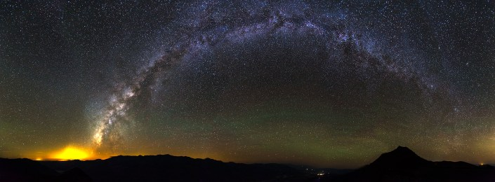 Panorama of the whole milky way from death valley