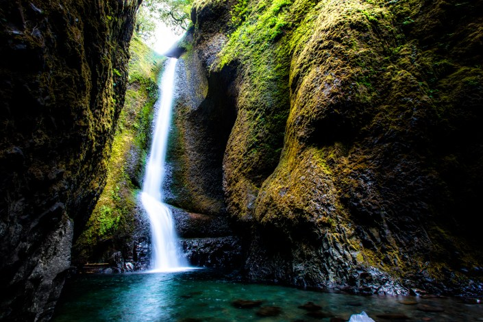 a waterfall cascades into a pool at the end of the oneonta gorge on oregon