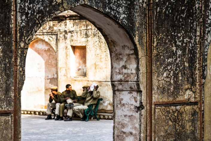 guards having a laugh while on their lunch break in the red fort