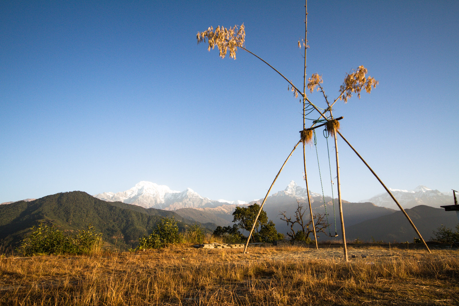 handmade bamboo swing in the mountains