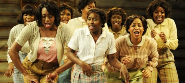 Cynthia Erivo (centre) with cast members of The Color Purple. Photo: Nobby Clark