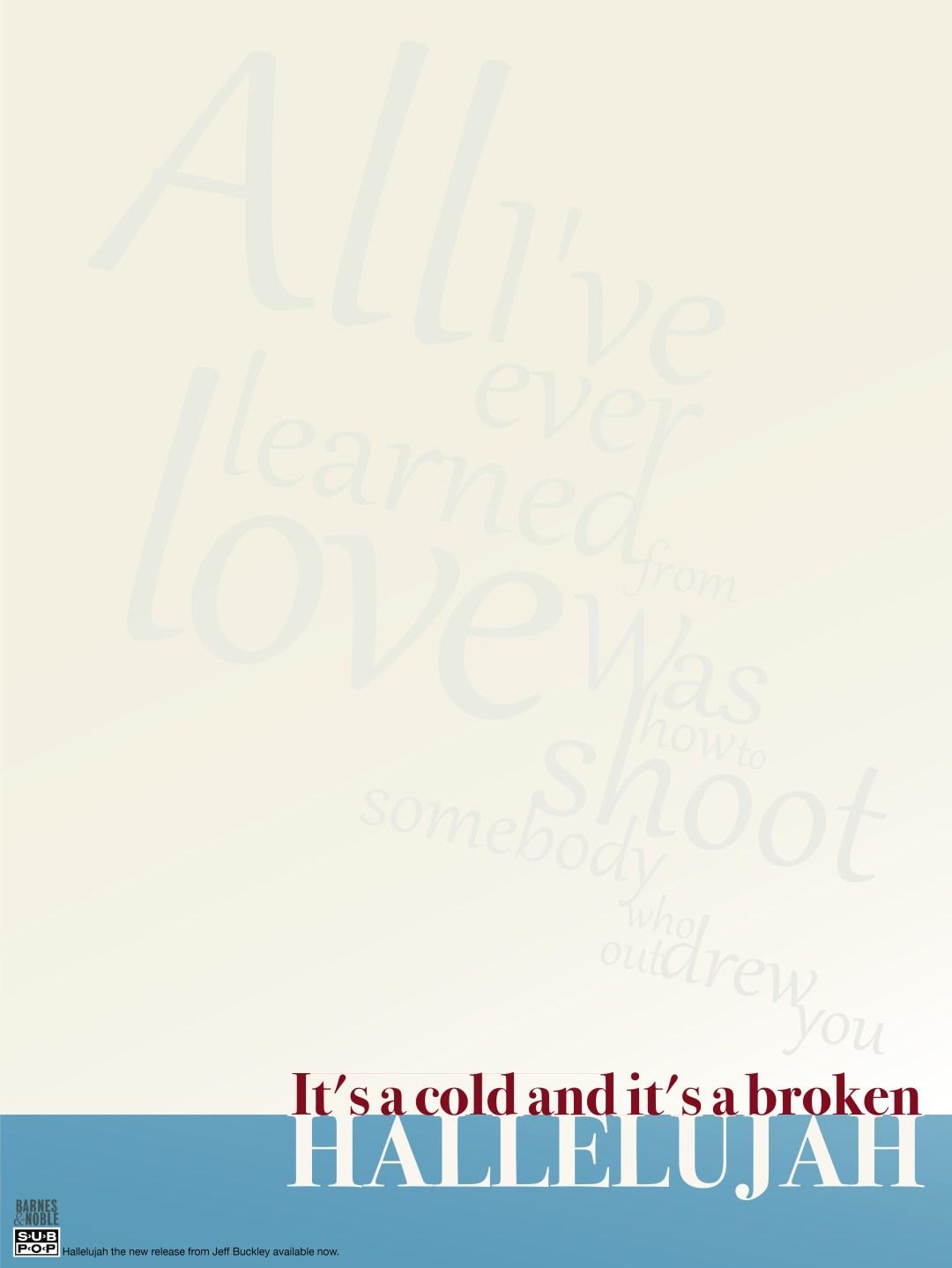 Jeff Buckley Hallelujah Poster
