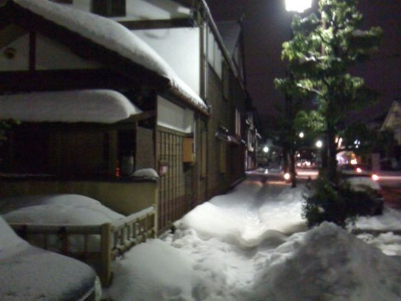 an alley filled with snow