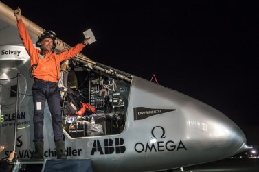 "Swiss pilot Bertrand Piccard reacts after landing ""Solar Impulse 2"", a solar powered plane on Moffett Airfield in Mountain View in Silicon Valley on Saturday 23-April-2016, after a flight from Hawaii, where he took off on 21-April-2016 for a non-stop three day flight to cover 4'523 km (2810,462m). He landed short before midnight after a 62 hours flight."
