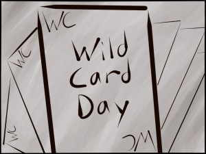 Word Art Wild Card Day handwritten font on illustration of cards