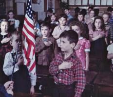 LOOK Magazine photo, WW II. 'Children pledging allegiance to the flag at Broad Street School'. Courtesy Crandall Public Library, Folklife Center, Glens Falls N.Y..