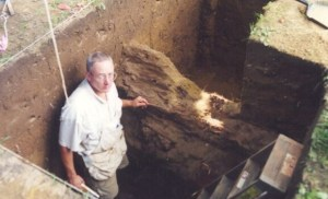 Rozell and the West Curtain wall of Fort Edward, 1995, 240 yrs. after its construction.