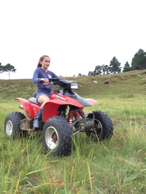Hannah learnt how to quad bike. Over the course of the weekend, she slowly started looking less terrified.