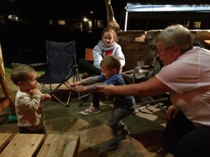 While my mother and Jordy played rock-paper-scissors, Ryan decided he wanted to jump in. He got the idea -- kinda.