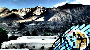 SOLAR TRAIL   A spacey solar panel is dwarfed by the foothills of the Himalayas outside Leh   Jammu & Kashmir