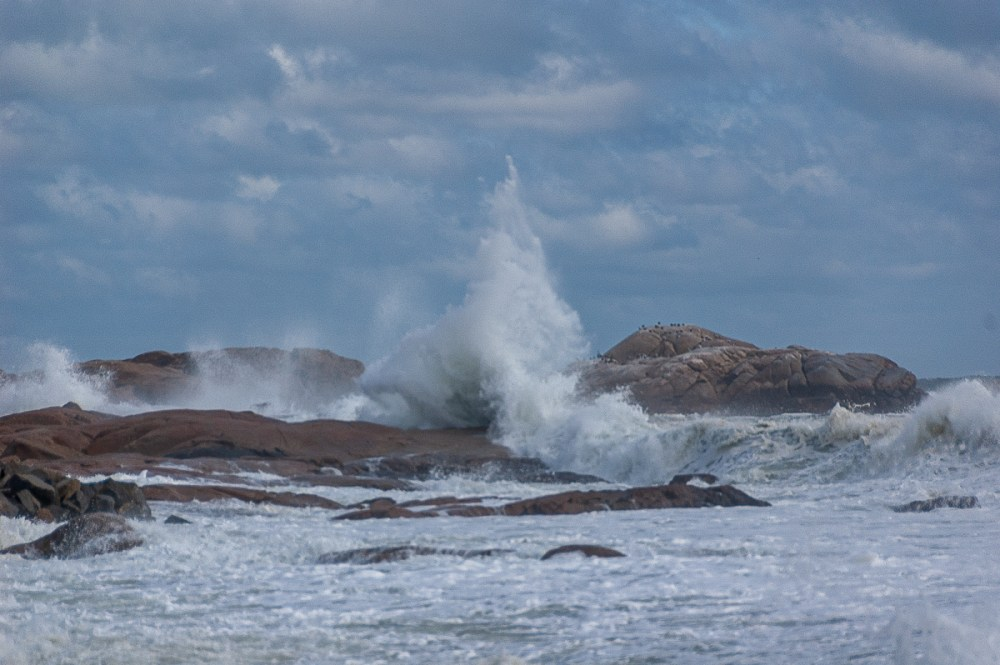Brace Rock and high surf, Gloucester, Massachusetts