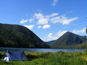 Camping, tent with mountains