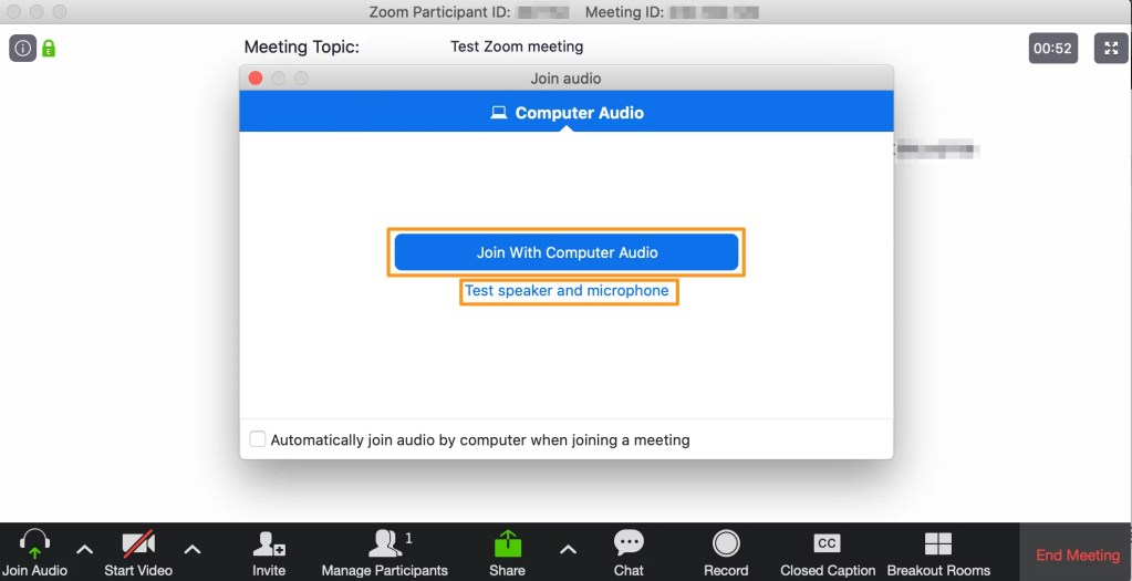 Screenshot of a Zoom meeting - Join audio dialog.