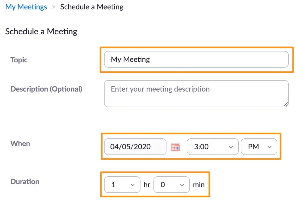 Screenshot of Zoom schedule a meeting.