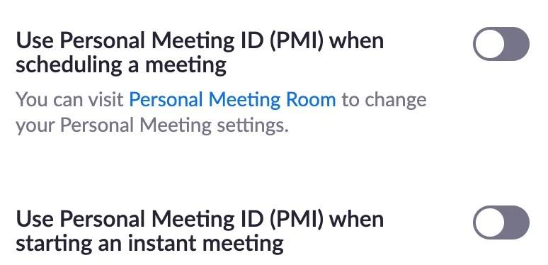 Screenshot of Zoom meeting settings page - personal meeting ID