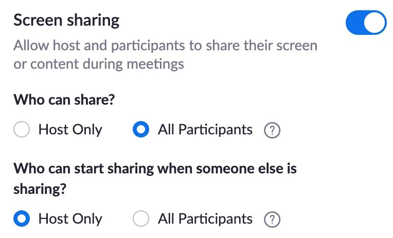 Screenshot of Zoom meeting settings - Screen sharing.